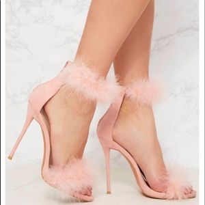 Pink fur strap heels